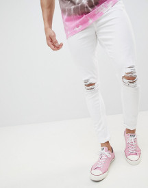 Jaded London Super Skinny Jeans With Rips In White afbeelding