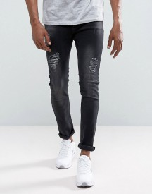 Just Junkies Sicko Slim Fit Jeans With Rips In Washed Black afbeelding