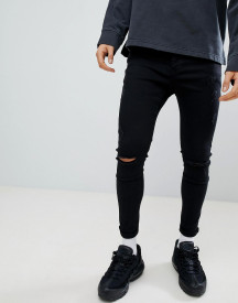 Kings Will Dream Super Skinny Fit Jeans With Distressing In Black afbeelding