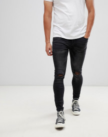 Kings Will Dream Super Skinny Jeans In Black With Distressing afbeelding
