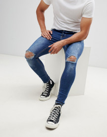 Kings Will Dream Super Skinny Jeans In Mid Wash With Paint Splatter afbeelding