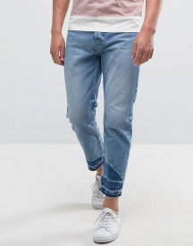 Kiomi Jeans With Raw Hem In Relaxed Fit afbeelding