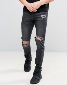 Kubban Washed Black Skinny Jeans With Knee Rips afbeelding