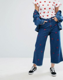 Lazy Oaf Wide Leg Denim Love Jeans With All Over Hearts Co-ord afbeelding