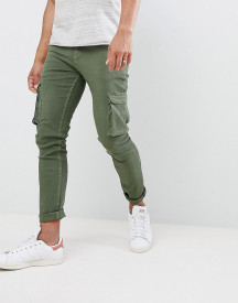 Ldn Dnm Skinny Jeans With Cargo Pockets In Khaki afbeelding