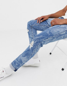 Levi's X Justin Timberlake 501 Slim Tapered Fit Leaves Print Distressed Jeans In Mid Wash afbeelding