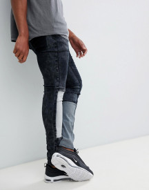 Liquor N Poker Skinny Fit Jeans With Patchwork afbeelding