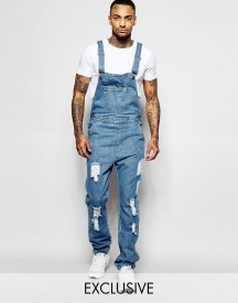 Liquor & Poker Dungarees Straight Fit Extreme Rips Stonewash afbeelding