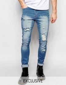 Liquor & Poker Skinny Extreme Rips Jeans In Light Stonewash afbeelding