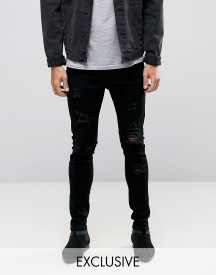 Liquor & Poker Skinny Extreme Rips Jeans In Washed Black afbeelding