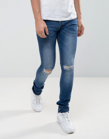 Loyalty And Faith Manchester Skinny Jean With Unrolled Hem In Mid Wash afbeelding