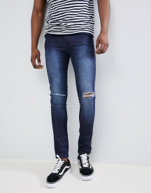 Loyalty And Faith Siret Super Skinny Jeans With Ripped Knees In Dark Wash afbeelding