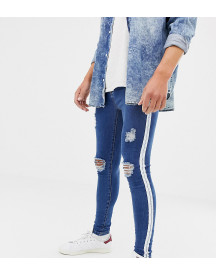 Mauvais Muscle Fit Jeans With Distressing And Side Stripe afbeelding
