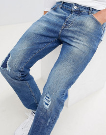 Mennace Blue Rip & Repair Slim Wallace Jeans afbeelding