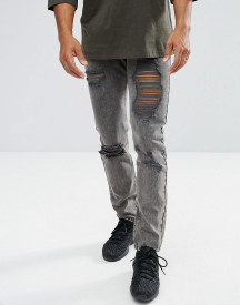 Mennace Slim Jeans In Washed Black With Distressing afbeelding