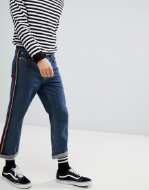 Mennace Straight Cropped Jeans With Side Tape afbeelding