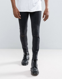 Mennace Super Skinny Jean With Rips And Raw Hem In Black afbeelding