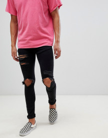 Mennace Super Skinny Jeans In Black With Distressing afbeelding