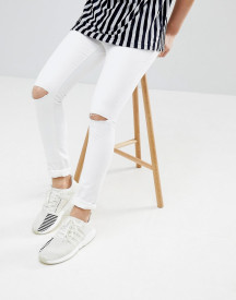 Mennace Super Skinny Jeans In White With Knee Rips afbeelding