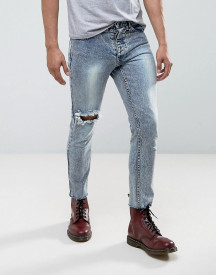 Mennace Super Skinny Skinny Cropped Jeans In Acid Wash With Piercing Ring afbeelding