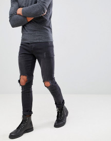 Mennace Washed Black Busted Knee Relaxed Skinny Makavelli Jeans afbeelding