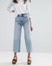 M.i.h Jeans Crop Wide Leg Jean With Contrast Vintage Wash And Raw Hem afbeelding