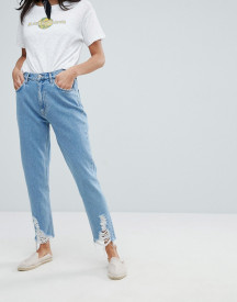 Mih Jeans Mom Jeans With Ladder Distressed Hem afbeelding