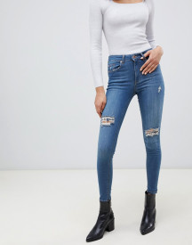 Miss Selfridge Skinny Jeans With Distressed Rips In Mid Wash afbeelding