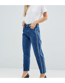 Missguided Petite Fray Detail Straight Leg Jean afbeelding