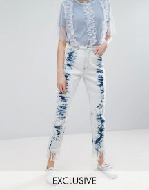 Monki Acid Wash Frayed Hem Jeans afbeelding