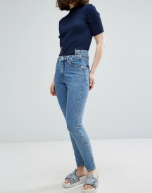 Monki Kimomo Acid Wash Pocket Detail Mom Jeans afbeelding