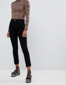 Monki Kimomo High Waist Mom Jeans In Deep Black afbeelding