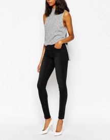 Monki Super Stretch Skinny Jeans In Washed Black afbeelding