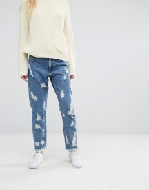 Monki Nibbled Denim Jeans afbeelding