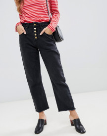 Neon Rose High Waist Mom Jeans With Button Front afbeelding