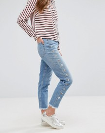 New Look Eyelet Side Mom Jeans afbeelding