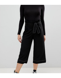 New Look Petite Contrast Stitch Paper Bag Jeans In Black afbeelding