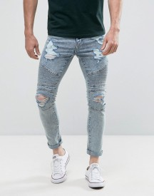 New Look Skinny Biker Jeans With Extreme Rips In Light Wash afbeelding