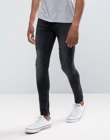 New Look Skinny Jeans With Rips And Zip Hem In Washed Black afbeelding