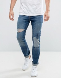 New Look Slim Jeans With Rip And Repair Detail In Mid Wash afbeelding
