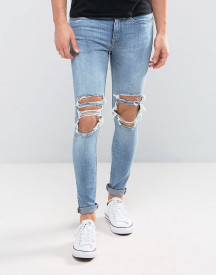 New Look Super Skinny Jeans With Extreme Rips In Mid Wash afbeelding