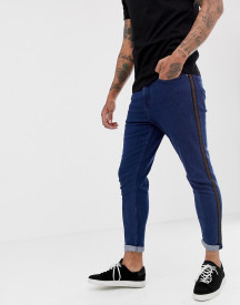 New Look Tapered Jeans With Side Stripe In Dark Blue Wash afbeelding