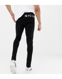 Nicce Skinny Fit Jeans In Black With Logo Exclusive To Asos afbeelding