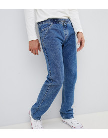 Noak Straight Jeans In Mid Wash Blue With Toggle afbeelding