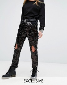 One Above Another Shredded Jeans In Sequin afbeelding