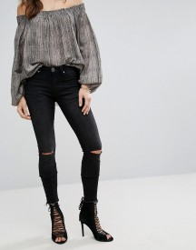 One Teaspoon Hoodlums Skinny Mid Rise Jean With Rip Knee And Raw Hem afbeelding