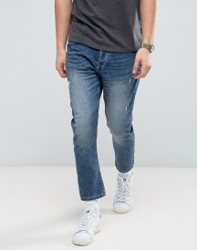 Only & Sons Jeans In Tapered Cropped Fit With Distress afbeelding
