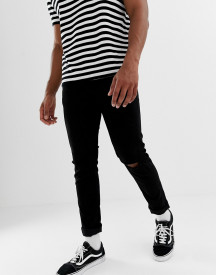 Only & Sons Skinny Jeans In Black With Knee Rip afbeelding