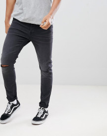 Only & Sons Skinny Jeans In Washed Grey With Knee Rip afbeelding