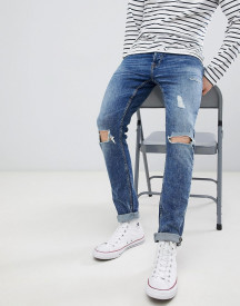 Only & Sons Skinny Jeans With Repair Knee Details afbeelding